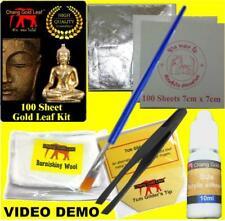 100 Silver Leaf Kit With Gilding Tweezers Brush Adhesive Glue Size Gilder's Tip