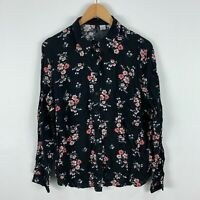 H&M Womens Blouse Top 12 Black Floral Long Sleeve Button Closure Collared