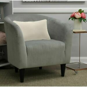 Microfiber Tub Accent Chair Dove Gray Padded Deep Seat For Home Living Room New