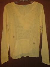 """Gander Mt. M Yellow LooseKnit Pullover Sweater Hoody Undrarms21.5"""" L25"""" Slv24"""""""