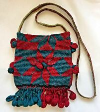 Charming Hand Made Old Vintage Nepal Tribal Wool Crocheted Money Bag Purse