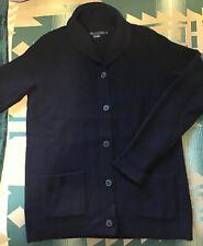 Ralph Lauren Blue Cable Knit Shawl Collar Cashmere Sweater Women's Size L