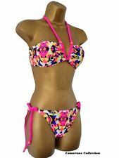 Ladies Neon AZTEC Removeable Pads Tie Halter Bikini  sizes  UK  8 10 12