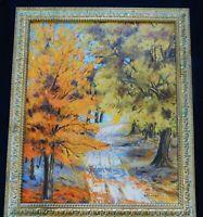 ORIG.  Autumn Fall MCM 60's IMPRESSIONIST Landscape Oil Painting Gold Gilt Frame