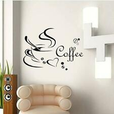 Coffee Cup Kitchen Window Cafe Restaurant Wall Sticker Decal Mural Decoration FI