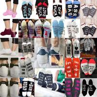 Fashion Womens Mens Ankle Letter Print Design Off Pattern Funny Sport Socks UK