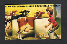 Posted 1976 Bamforth Comic/ Cartoon Card: Milkmaid/ Cows Cold Hands