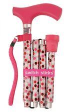 Folding Hot Pink Switch Sticks Walking Cane In Presentation Box