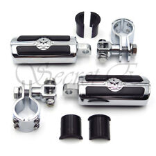 """Footpegs Skull Foot Pegs 1 1/4"""" Clamps Mount For Harley Davidson Street Glide"""