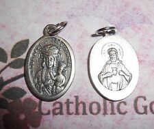 Our Lady of Czestochowa + Sacred Heart  -  Italian Silver Tone OX 1 inch Medal