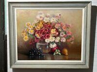 Vintage Original Large Oil Painting Floral arrangement by Cora Cutter Wellman MA