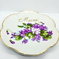 "Vintage Maine 6"" Scalloped Plate Gold Trimmed Purple Flowers State Plate Collect"