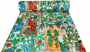 Frida Kahlo Mexican Kantha Quilt Indian Handmade Green Twin Size Bed Cover Throw