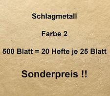 500 Blatt Farbe 2,0 Schlagmetall Blattmetall Blattsilber Blattgold-- 20 Hefte !