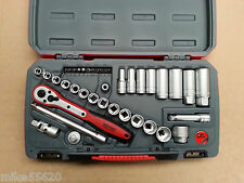 "TENG TOOLS SOCKET SET 3/8""Dr 39 PCE METRIC STD & DEEP SOCKETS + BITS NEW T3839"