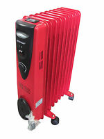 Ultramax 2KW 9 Fin Oil Filled Radiator With Thermostatic control - RED