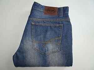 "FCUK Mens Jeans Blue Denim Straight Leg Button Fly W34 L32 Waist 34"" Leg 32"""