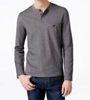 Alfani Men's Big & Tall Long-Sleeve Henley Shirt, Deep Black Combo, LT