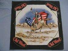 "OLD WEST SCARF, COWBOY ON A HORSE, AMERICAN FLAG IN BACKGROUND, 21-1/2"" X 22"""