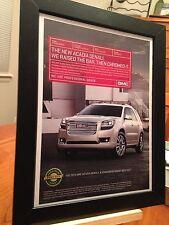 """FRAMED ORIGINAL 2013 GMC """"ACADIA DENALI"""" SUV TRUCK PROMO AD"""