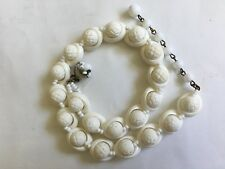 Vintage MIRIAM HASKELL Signed White Cream Coral Lucite Necklace
