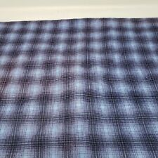 """Vintage Plaid Cotton Flannel Fabric 2.5 yards Piece 36"""" x 90"""" Blue Black Purple"""