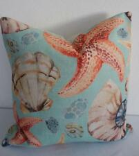 Hamptons Teal Starfish Shells Coastal Beach Linen Blend Cushion Cover 45cm