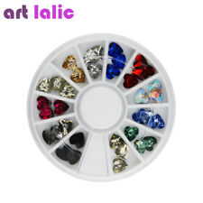 3D Heart Acrylic Nail Art Tips DIY Decoration Crystal Glitter Rhinestones Wheel