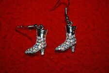 Cowgirl Boots Drop Earrings AB Austrian Crystal Silver Western Rodeo Stock Show