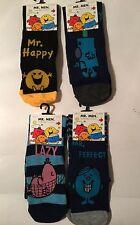 1  Pair Mens Black Mr Men Socks - Happy Grumpy Perfect Lazy