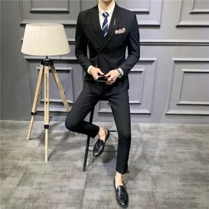 Men's Wedding Dress Suit 3 Piece Double Breasted Striped Lapel Business Prom New