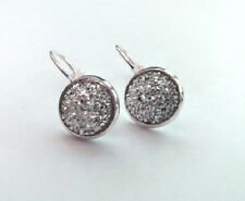 SPARKLING DRUZY RESIN SILVER GREY ROUND LEVER BACK SILVER EARRINGS 12MM