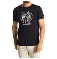 NWT Roberto Cavalli HST618 A475 Graphic Crew Neck Cotton Size S Black T-Shirt