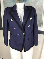 ESCADA SPORT Woman's Jacket Navy Blue Collared Buttons Sz S EU 36 ~ NICE ~