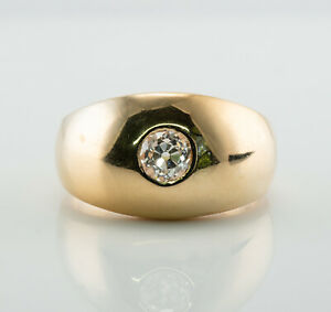 Mens Diamond Ring 14K Gold Band .75ct Solitaire Vintage