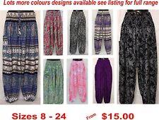 Harem Genie Ladies Gypsy Boho Yoga Printed Pants sizes 8 10 12 14 16 18 20 22 24