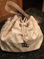 AUTHENTIC CHANEL IVORY GLAZED CALFSKIN ON THE ROAD HOBO HANDBAG NO RESERVE