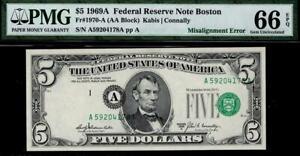 1969a $5 Boston Federal Reserve Note FRN • ERROR • PMG 66 EPQ • Fr.1970-A