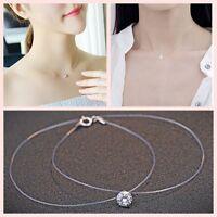 Mujer Collar Cadena Gargantilla Colgante Cristal Transparente joyería Necklace