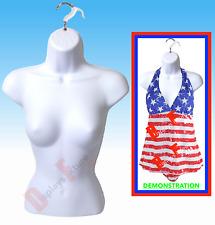 NEW FEMALE MANNEQUIN FORM & HANGER, BODY TORSO DISPLAY WOMEN DRESS SHIRT - WHITE