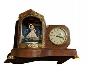 United Sessions Animated Ballerina Clock Music Box Runs plays & Dances No Glass