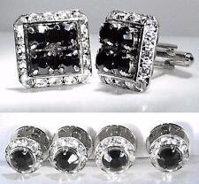 Tuxedo Square Jet (black) Cufflinks & Round Studs Made With Swarovski Crystals