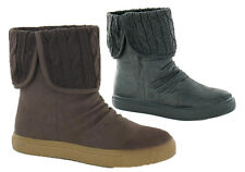 Ladies Womens Thick Sole Knitted Turn Over Sock Zip Ankle Boots Shoe Size 3-8
