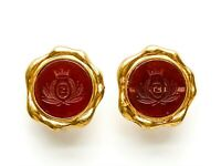 Vintage Signed Fendi Large Gold Tone and Carnelian Glass with Logo clip Earrings