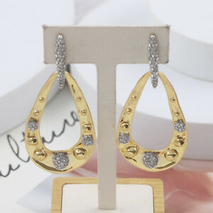 Alexis Bittar Pave Studded Link Post Gold Plated Crystal Earrings