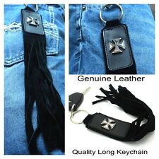 Iron Cross Motorcycle Fringe Whip Key Chain Genuine Leather & Suede Men or Women