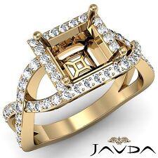 Princess Semi Mount 0.68Ct Diamond Engagement Halo Pave Set 14k Yellow Gold Ring