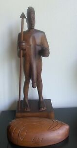 """17"""" TALL Vintage Carved  Wood MALE  Nude  SCULPTURE STATUE"""