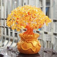 Feng Shui Money Wealth Tree Yellow Citrine Amethyst Crystal Lucky Tree De DD