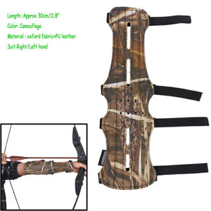 Archery Camo 4 Straps Arm Guard Leather Protective Gear Bow Hunting Shooting